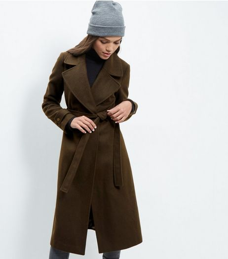 Khaki Wide Collar Wrap Front Longline Coat  | New Look