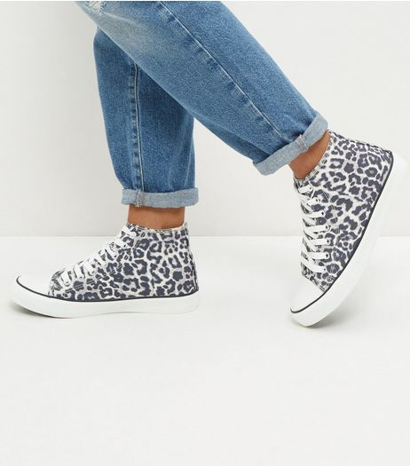 Stone Leopard Print Hi-Top Plimsolls  | New Look