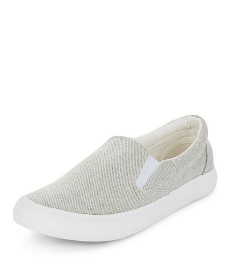 Grey Textured Slip On Plimsolls  | New Look