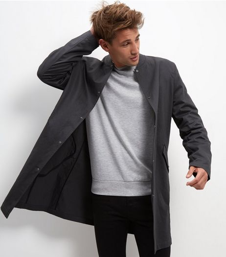 Grey Cotton Longline Bomber Jacket | New Look