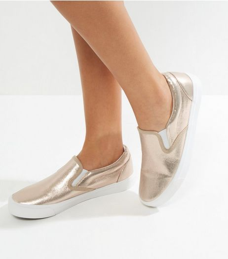 Cream Shimmer Slip On Plimsolls | New Look