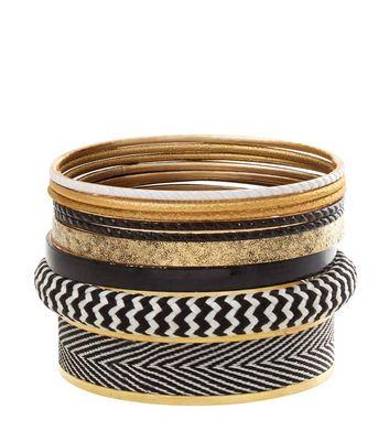 black-chevron-print-bangles