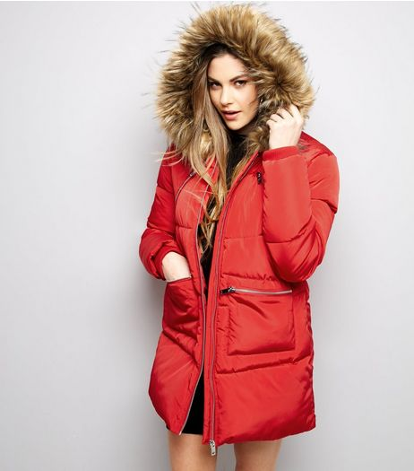 Red Faux Fur Trim Quilted Puffer Jacket | New Look