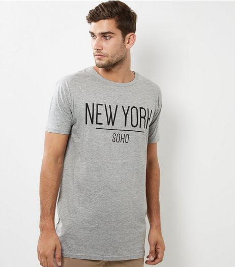 Grey New York Print Longline T-Shirt | New Look