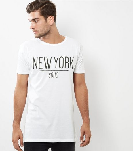 White New York Print Longline T-Shirt | New Look