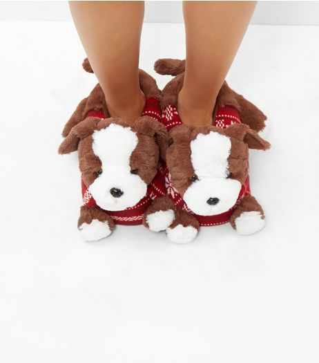 Brown Christmas Dog Slippers | New Look