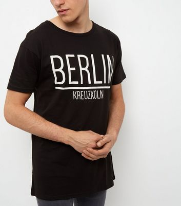 Black Berlin Print Longline T-Shirt