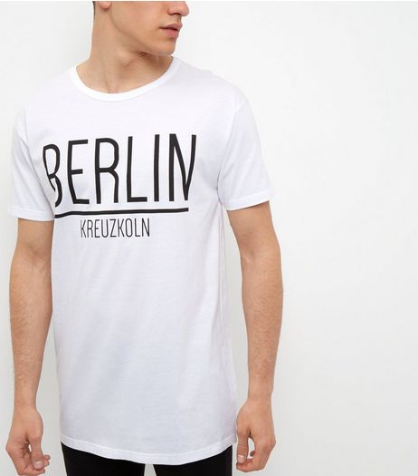 White Berlin Print Longline T-Shirt | New Look