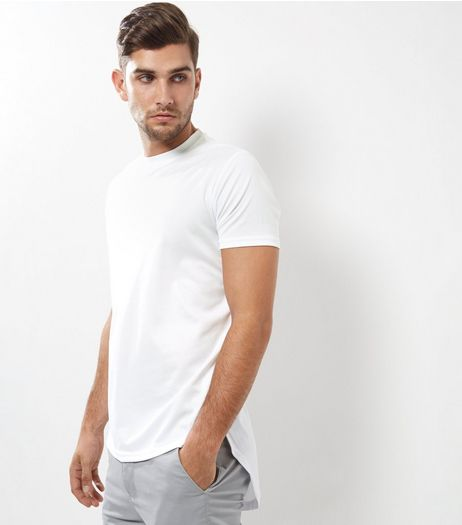White Airtex Longline T-Shirt | New Look