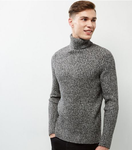 Grey Speckled Ribbed Roll Neck Jumper | New Look