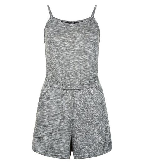 Teens Grey Marl Fine Knit Playsuit | New Look