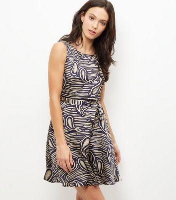 Mela Blue Abstract Print Sleeveless Dress