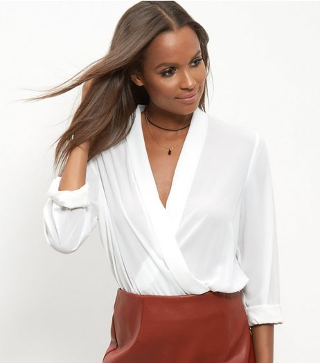 Cream Wrap Long Sleeve Bodysuit | New Look