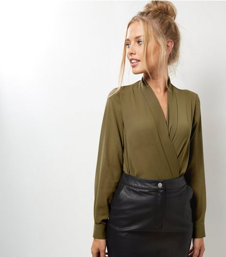 Khaki Wrap Front Long Sleeve Bodysuit  | New Look