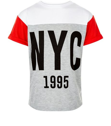 Girls Grey NYC Colour Block T-Shirt | New Look