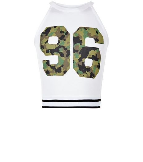 Girls White 96 Camo Print Top | New Look