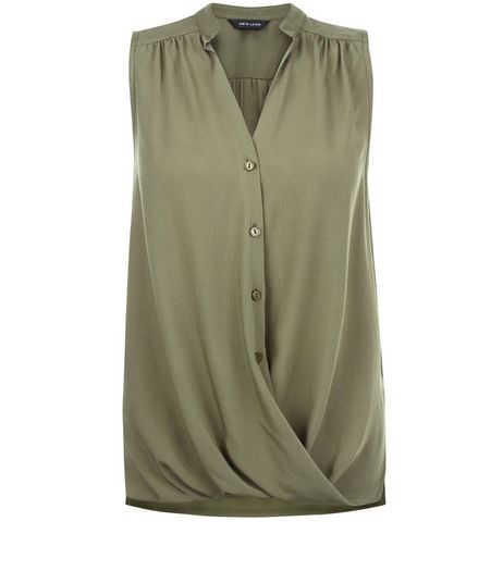 Khaki Wrap Sleeveless Shirt | New Look