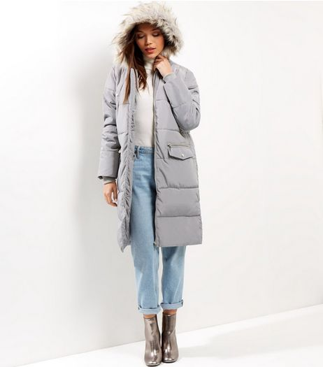 Grey Padded Maxi Coat | New Look