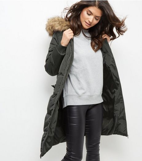 Khaki Padded Faux Fur Trim Hooded Coat  | New Look