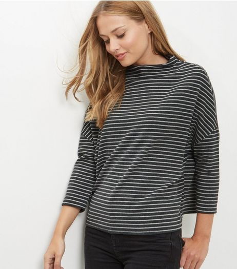 Grey Stripe Batwing Sleeve Brushed Top | New Look