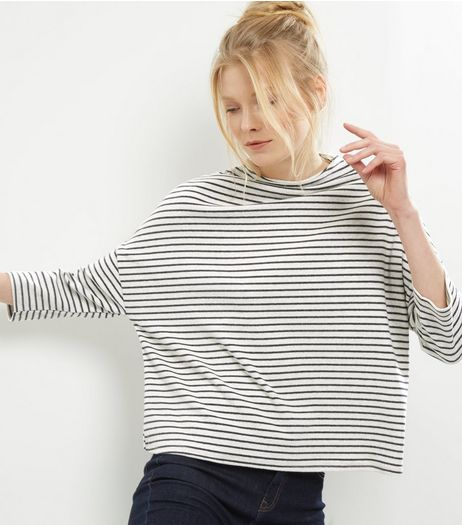 Cream Stripe Batwing Sleeve Brushed Top | New Look