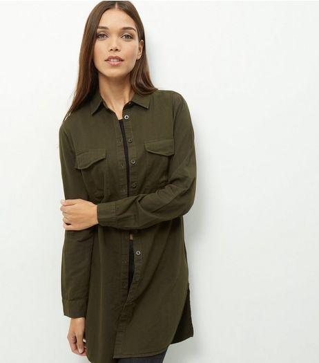 Khaki Longline Shirt  | New Look