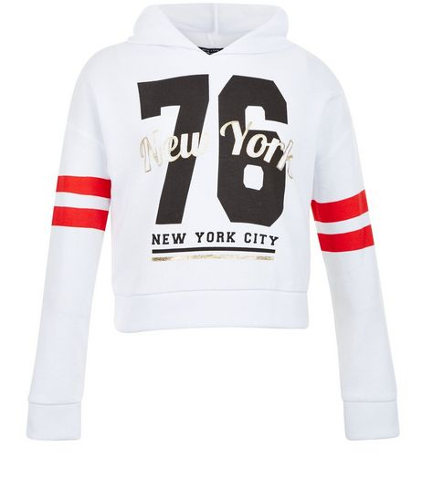 Girls White 76 New York City Hoodie | New Look
