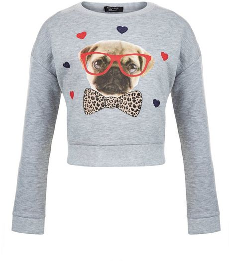 Girls Grey Pug Heart Sweater | New Look