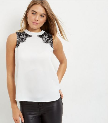White Lace Trim Funnel Neck Sleeveless Top  | New Look