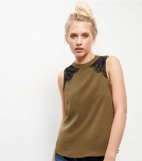 Khaki Lace Trim Funnel Neck Sleeveless Top | New Look