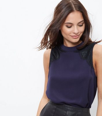 Navy Lace Trim Funnel Neck Sleeveless Top