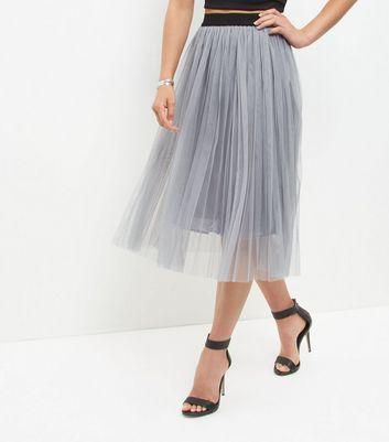 grey-mesh-pleated-midi-skirt
