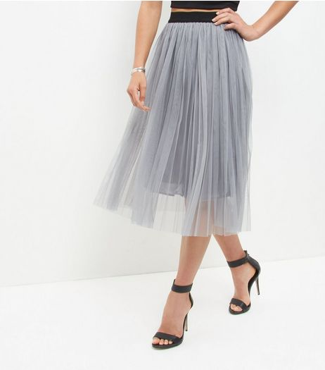 Grey Mesh Pleated Midi Skirt  | New Look
