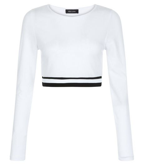 White Elasticated Hem Long Sleeve Crop Top  | New Look