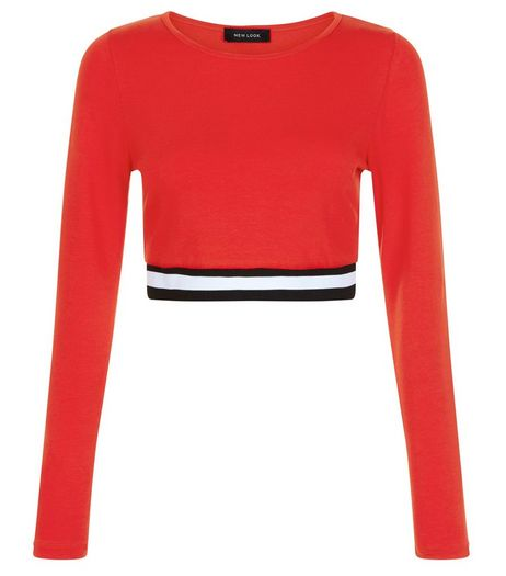 Red Elasticated Hem Long Sleeve Crop Top  | New Look