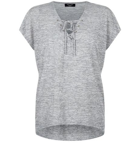 Petite Grey Lace Up Front T-Shirt | New Look