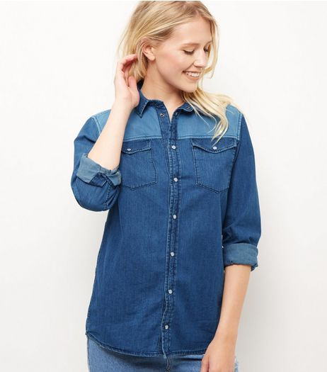Blue Colour Block Double Pocket Long Sleeve Shirt  | New Look