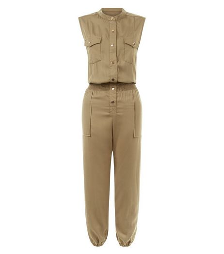 Cameo Rose Khaki Sleeveless Jumpsuit | New Look