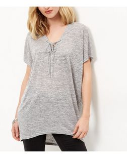 Tall Grey Lace Up Front Dip Hem T-Shirt | New Look