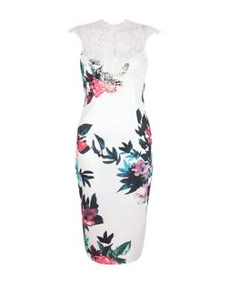 AX Paris White Floral Print Lace Trim Midi Dress | New Look