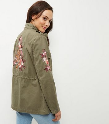 Khaki Floral Embroidered Parka Jacket