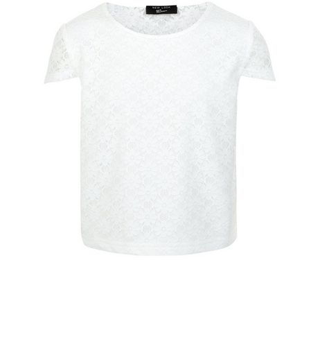 Girls White Lace Cap Sleeve Top | New Look