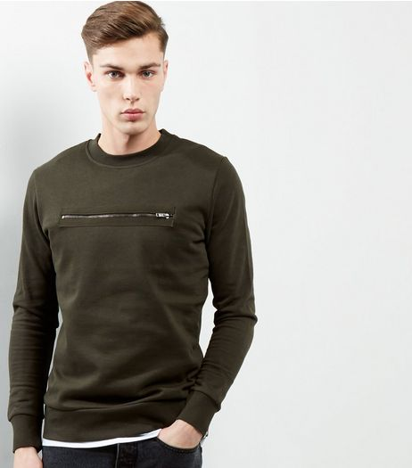 Khaki Zip Front Sweater | New Look