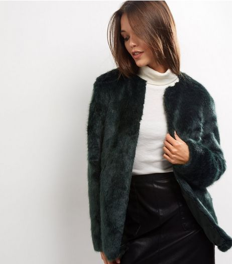 Dark Green Faux Fur Coat | New Look