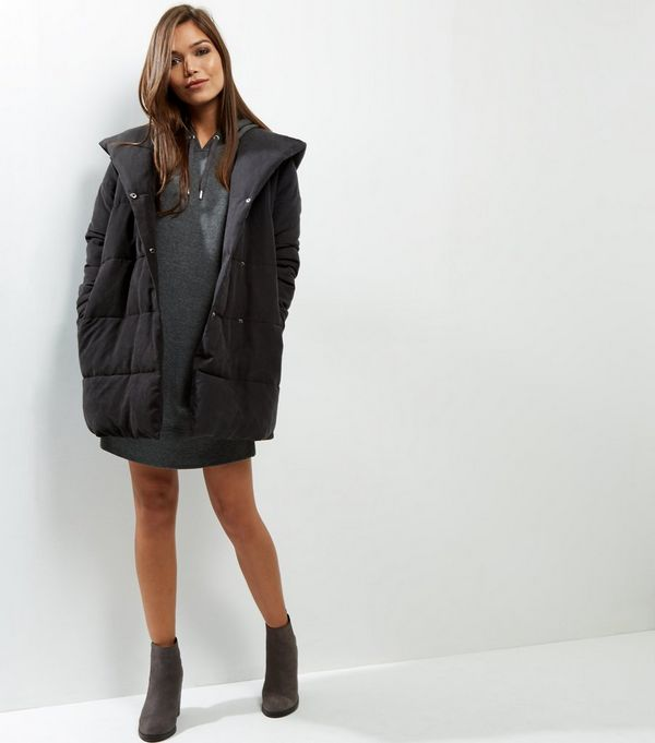 Black Padded Hooded Puffer Jacket