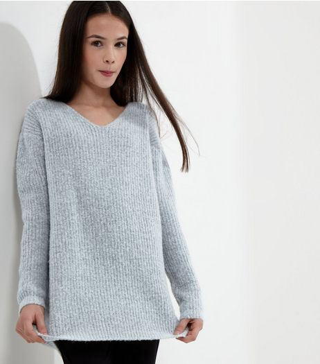Teens Grey Fluffy Ribbed V Neck Jumper | New Look