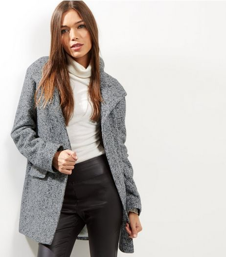 Grey Borg Lined Textured Hooded Jacket  | New Look
