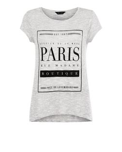 Pale Grey Fine Knit Paris Print T-Shirt  | New Look