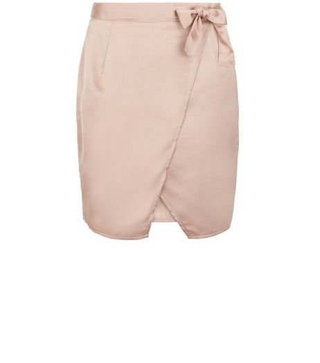 Teens Shell Pink Sateen Wrap Skirt | New Look