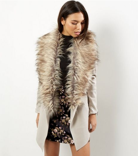 Stone Faux Fur Trim Longline Waterfall Coat  | New Look